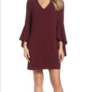 NEW Charles Henry Bell Sleeve V Neck Shift Dress S